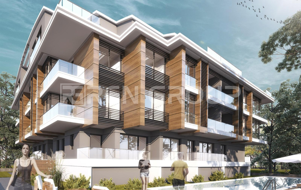 Newly built apartment complex in Antalya, with mountain and forest views